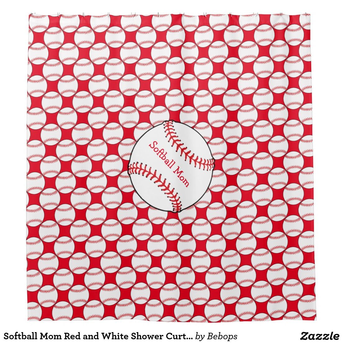 Softball Mom Red And White Shower Curtain