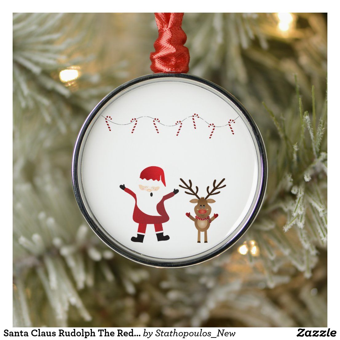 Santa Claus Rudolph The Red Nosed Reindeer Metal Ornament Zazzle Com Rudolph The Red Red Nosed Reindeer Custom Holiday Card