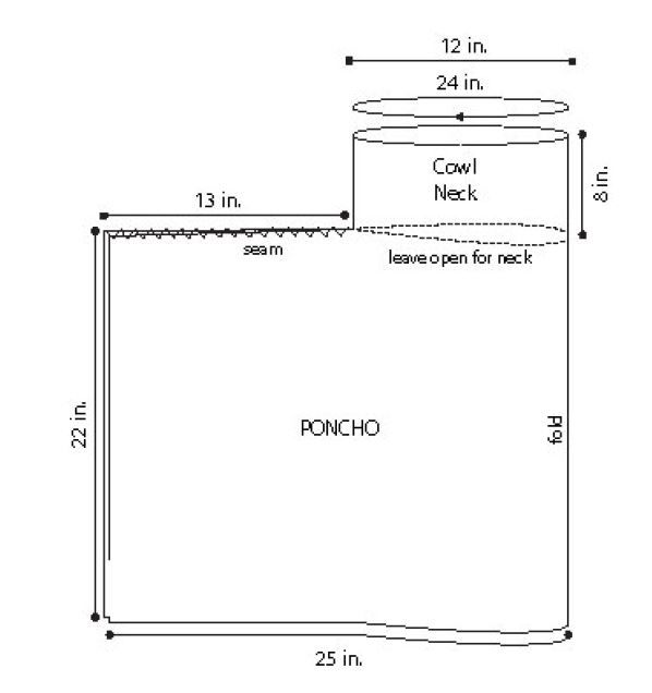 Poncho-diagram.jpg 598×636 pixeles | Chalecos y capas | Pinterest ...