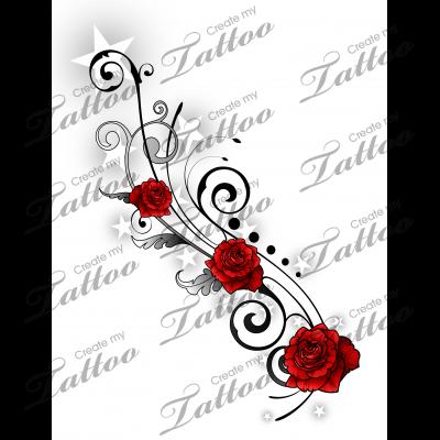 Marketplace Tattoo Sbink Stars And Rose Vine 20461 Rose Vine Tattoos Vine Tattoos Tribal Rose Tattoos