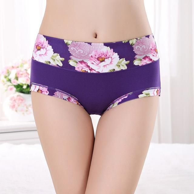 ed0c89ab01c0 Plus Size Women Underwear Panties Ladies Seamless Stylish Briefs Floral  Print Lingerie Calcinhas