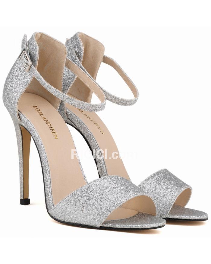 Wies Stilettos hohlen Leder hochhackigen Sandalen Schuhe, Beige, 43