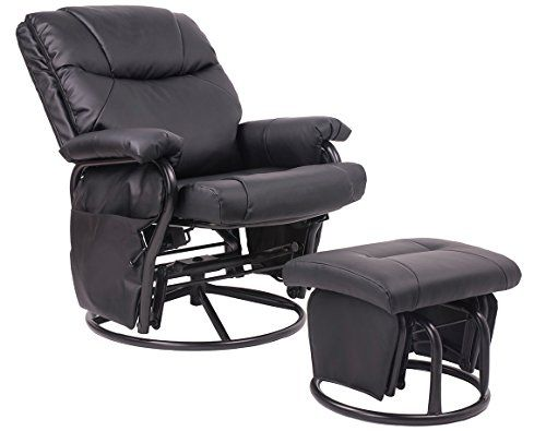 Black Pu Leather Nursing Glider Rocker Recliner and Ottom Swivel Glider Recliner Chair with Ottoman Living Room Bedroom Furniture  http://www.babystoreshop.com/black-pu-leather-nursing-glider-rocker-recliner-and-ottom-swivel-glider-recliner-chair-with-ottoman-living-room-bedroom-furniture/