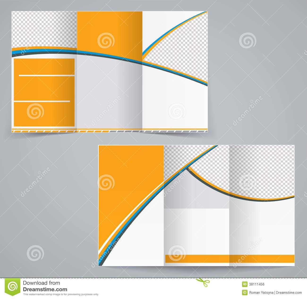 Trifold Brochure Design Abstract Round Geometrical Curve