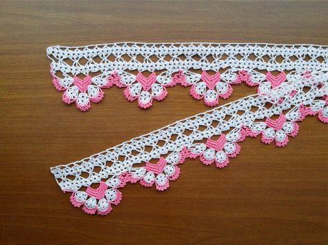 SALE! Towel Edge (Pink and White) - Lace Edge Crocheted Cotton Towel Trim - Crochet Home Decor - Crochet Edge #pillowedgingcrochet