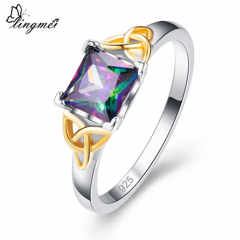 Gemmart Created Blue Opal Purple Zircon cubic zirconia engagement rings fashionable rings