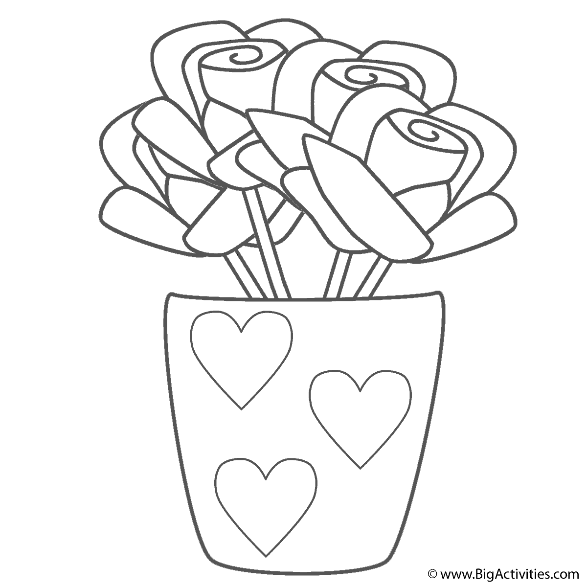 Roses In Vase With Hearts Coloring Page Mother S Day Mothers Day Coloring Pages Free Heart Coloring Pages Mothers Day Coloring Pages Flower Coloring Pages