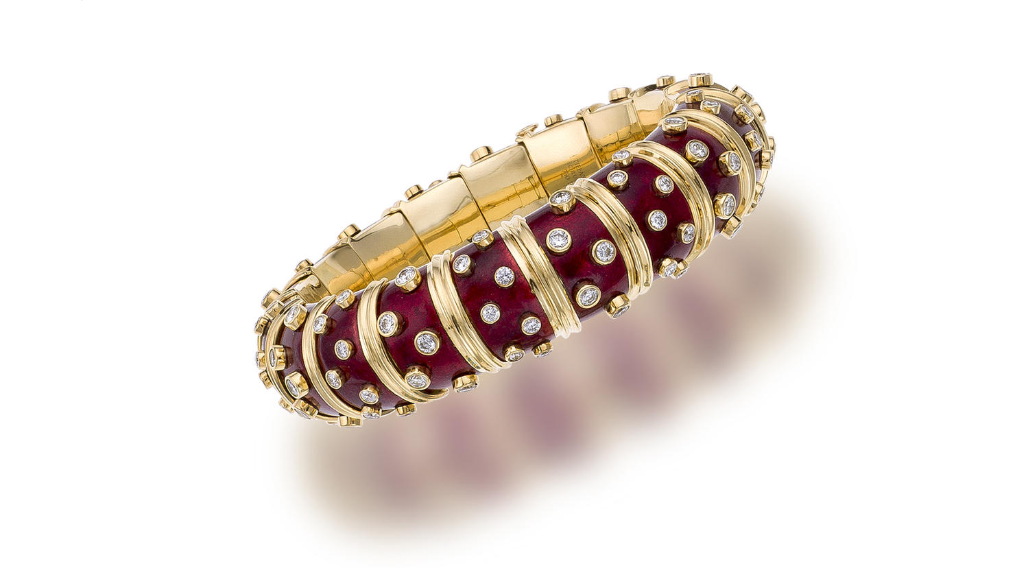 c2441f154 An enamel and diamond bangle bracelet, Schlumberger for Tiffany & Co.,  French Designed as a series of red pailloné enamel panels detailed with  bezel-set ...
