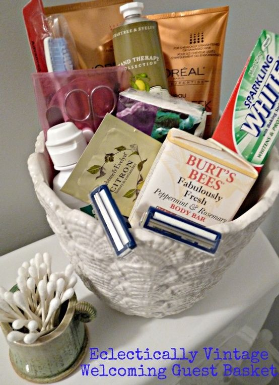 be guest ready  fill pretty container with bathroom