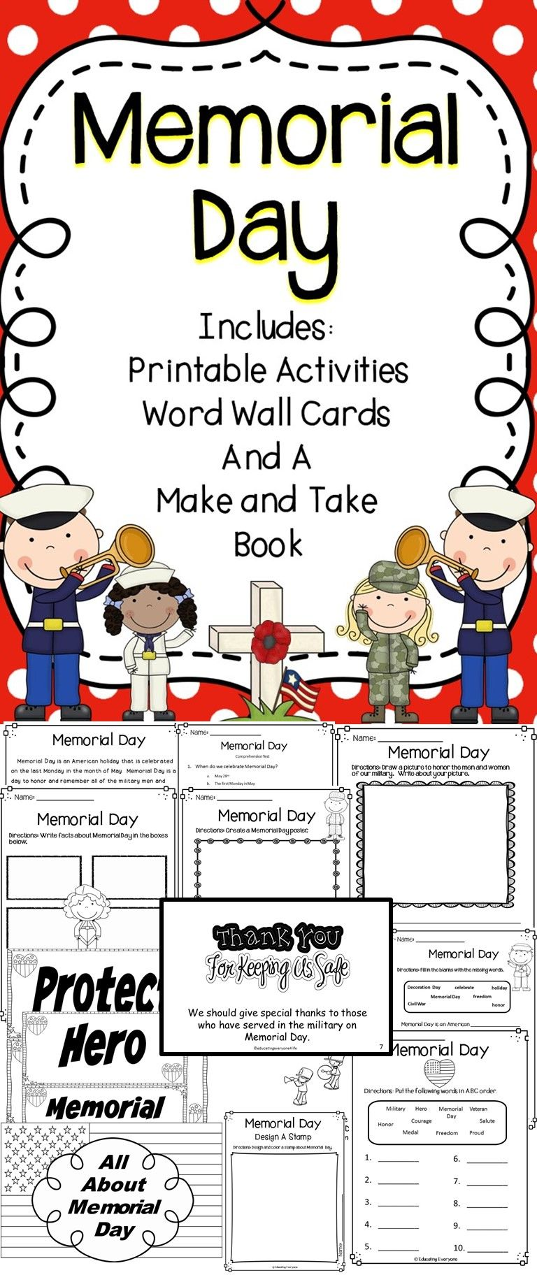 Memorial Day This Activity Pack Includes Fun And Engaging Activities All About Memorial Day Educa Memorial Day Kindergarten Worksheets Classroom Activities [ 1824 x 768 Pixel ]