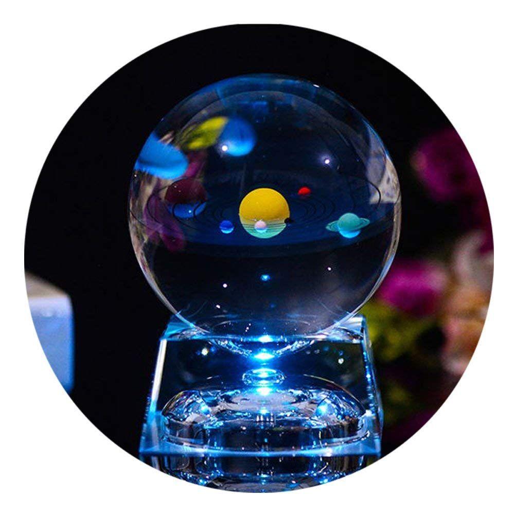 3D Sonnensystem Glaskugel mit Lichtbasis, Sonnensystem Ball ...
