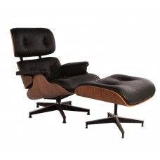 Charles & Ray Eames : Charles & Ray Eames Inspired 670 Lounge Chair and 671 Ottoman - Rosewood & Black Leather