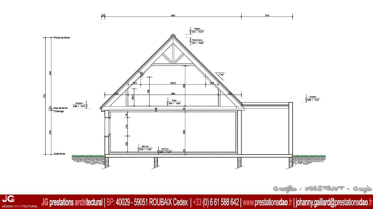 Jg dessin architectural coupe pour permis de con 15 1033 permis de construire pcmi d - Plan de coupe maison ...