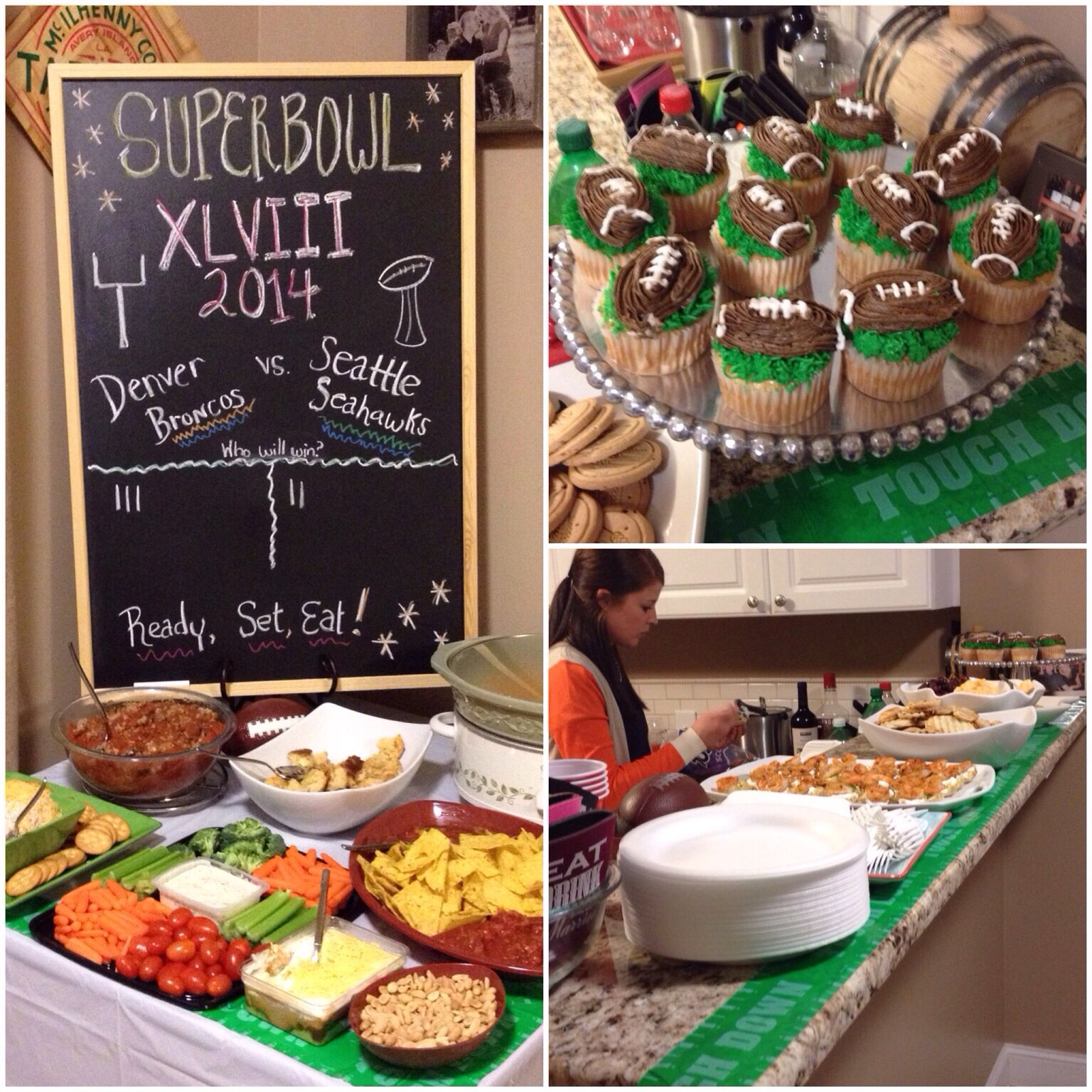 Super Bowl party fun! Love using chalkboards for themed parties! Took tallies from our guests to who they thought would win! The touchdown football tape and football chip & dip trays are from the Dollar Store!