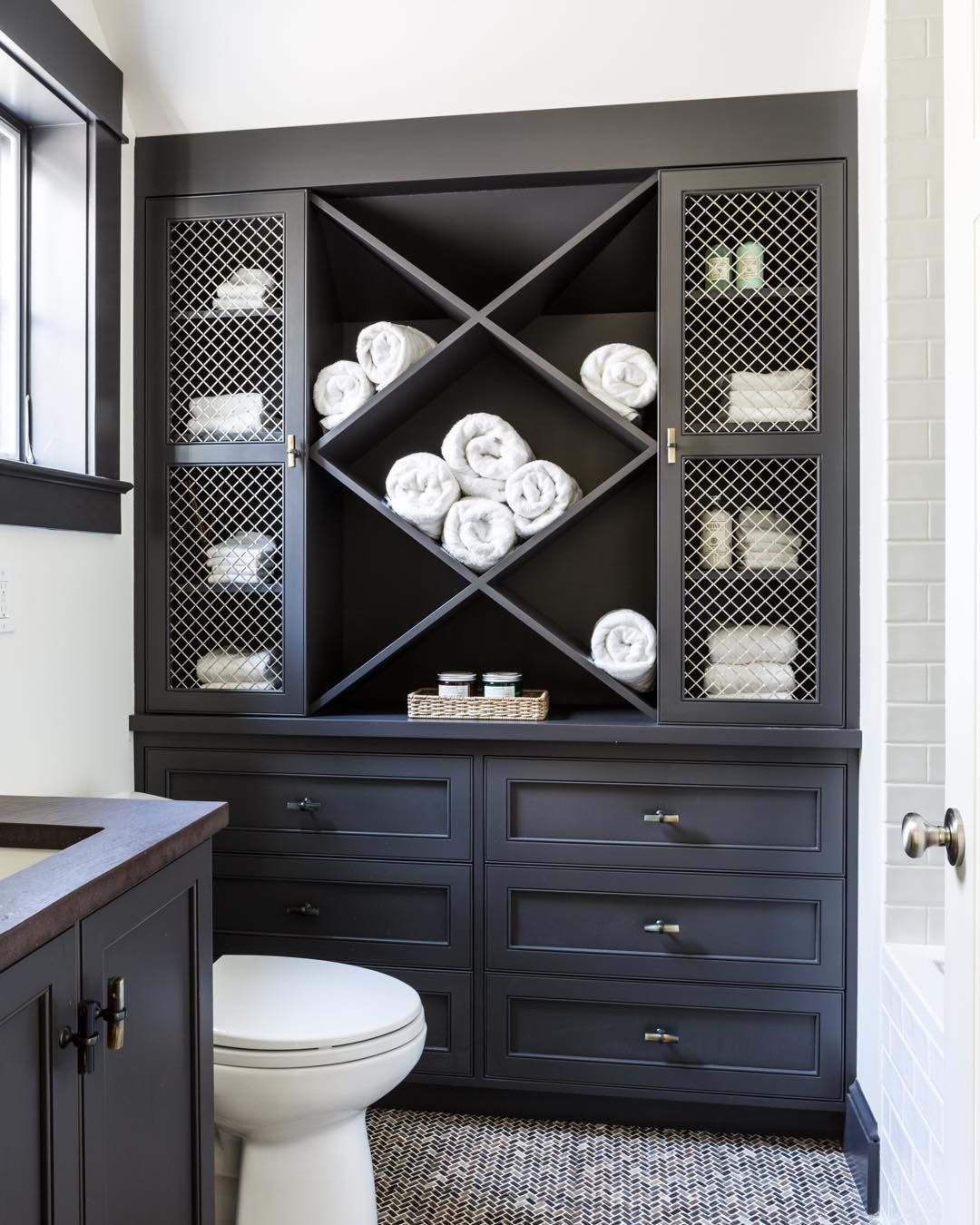 Shazalynn On Instagram Rolling Into Tuesday With This Fun Guest Bath At A Weekend Getaway We Designed With Towe In 2020 Towel Storage Small Bathroom Built In Dresser