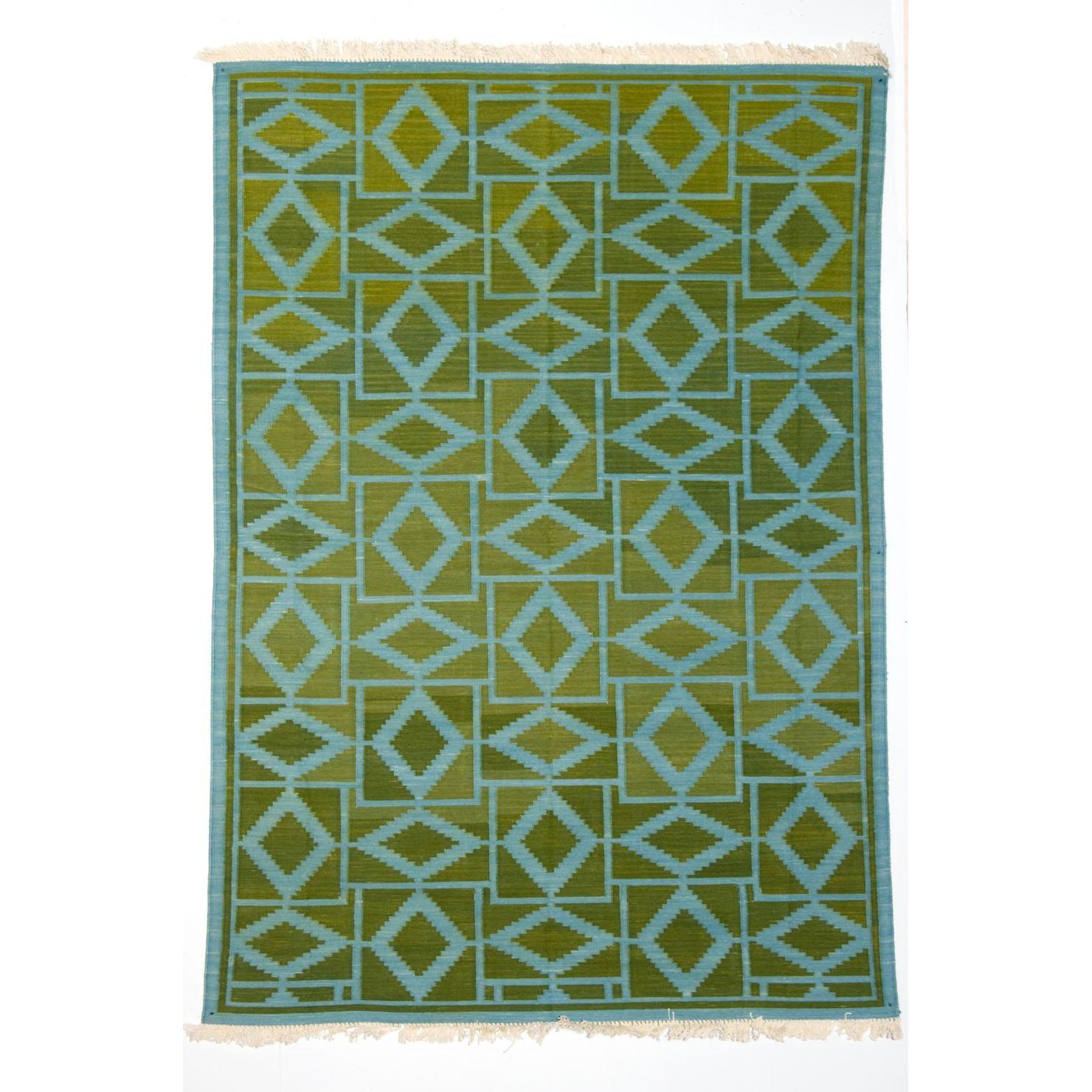mahout lifestyle jaipur teppich mit rautenmuster 122x183cm gr n und blau achica shopping. Black Bedroom Furniture Sets. Home Design Ideas