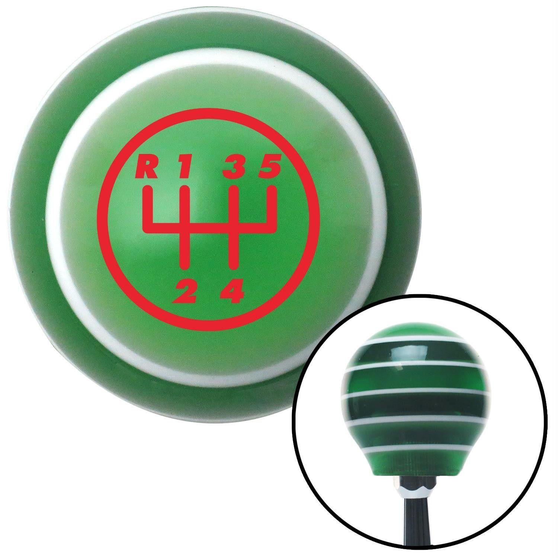 Red 5 Speed Shift Pattern 5URRUL Green Stripe Shift Knob with M16 x 15 Insert