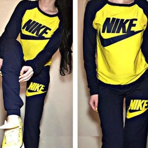 Black Yellow Nike Jumpsuit Set Athletic Sport Suit Women Sweatshirts Women Sports Suit
