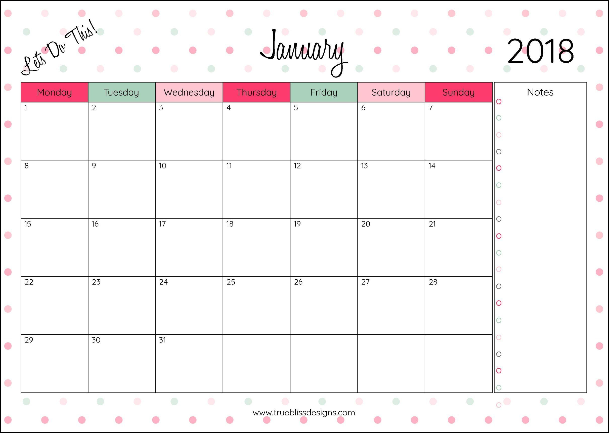 2018 Monthly Printable Calendar - Let\'s Do This | Pinterest