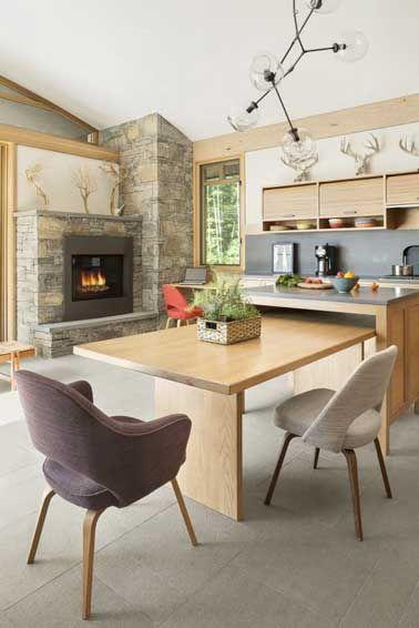 15 d co cuisine avec un coin repas malin chaise en tissu for Cuisine ouverte table integree