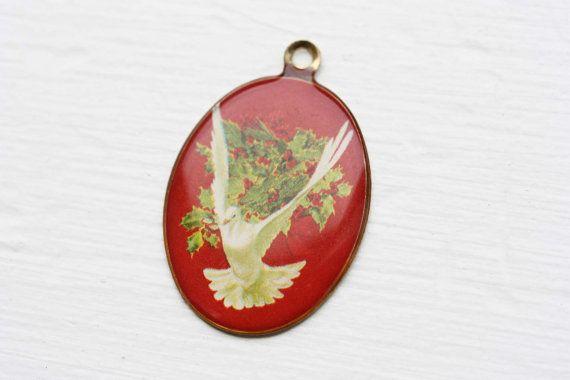 Vintage Red Dove Pendant by littlefavorites on Etsy