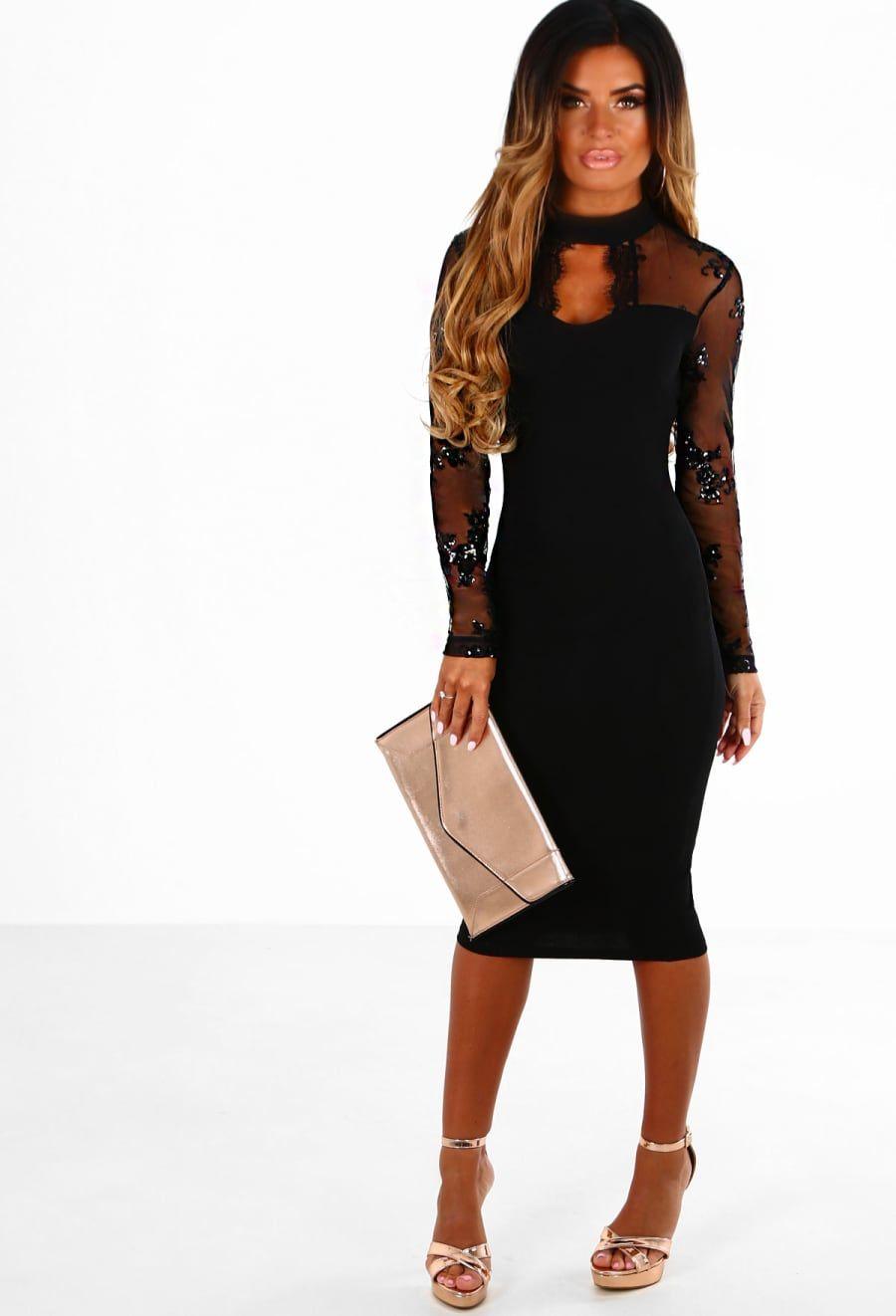5e26e6b57458 Love Spell Black Sequin Long Sleeve Bodycon Midi Dress | Pink Boutique