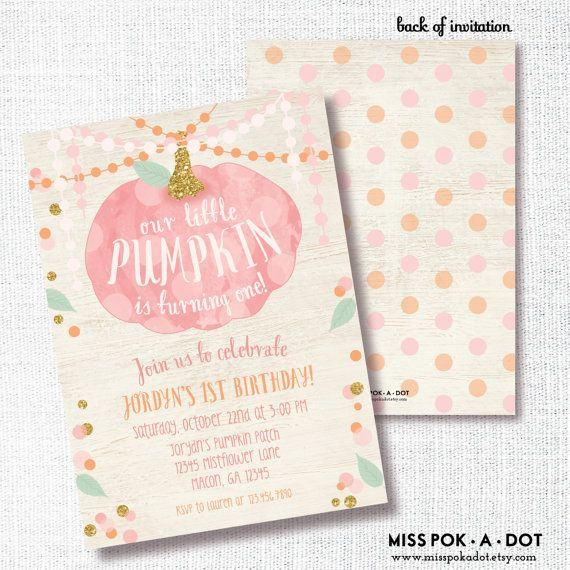 pink little pumpkin is on her way fall girl baby shower sprinkle, Baby shower invitations