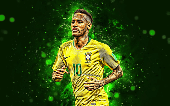 Download Wallpapers Neymar 4k Football Stars Brazil National Team Green Background Neymar Jr Soccer Creative Neymar 4k Neon Lights Brazilian Football Neymar Jr Neymar Football Team