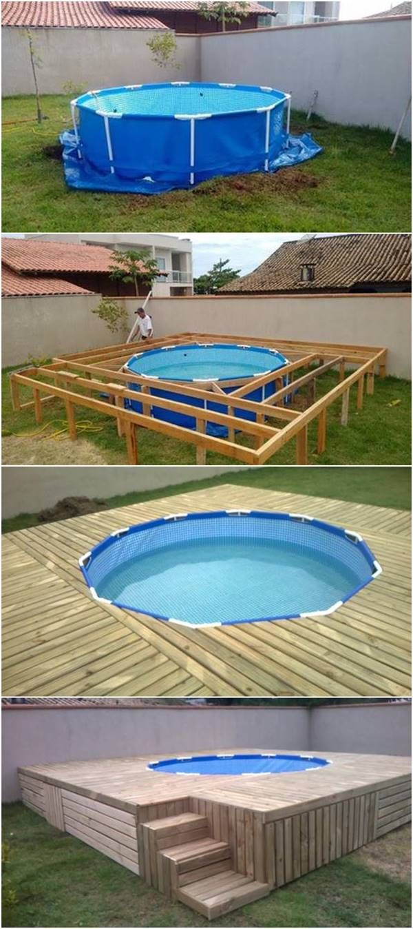 creative ideas diy above ground swimming pool with pallet deck outdoors pinterest garten. Black Bedroom Furniture Sets. Home Design Ideas