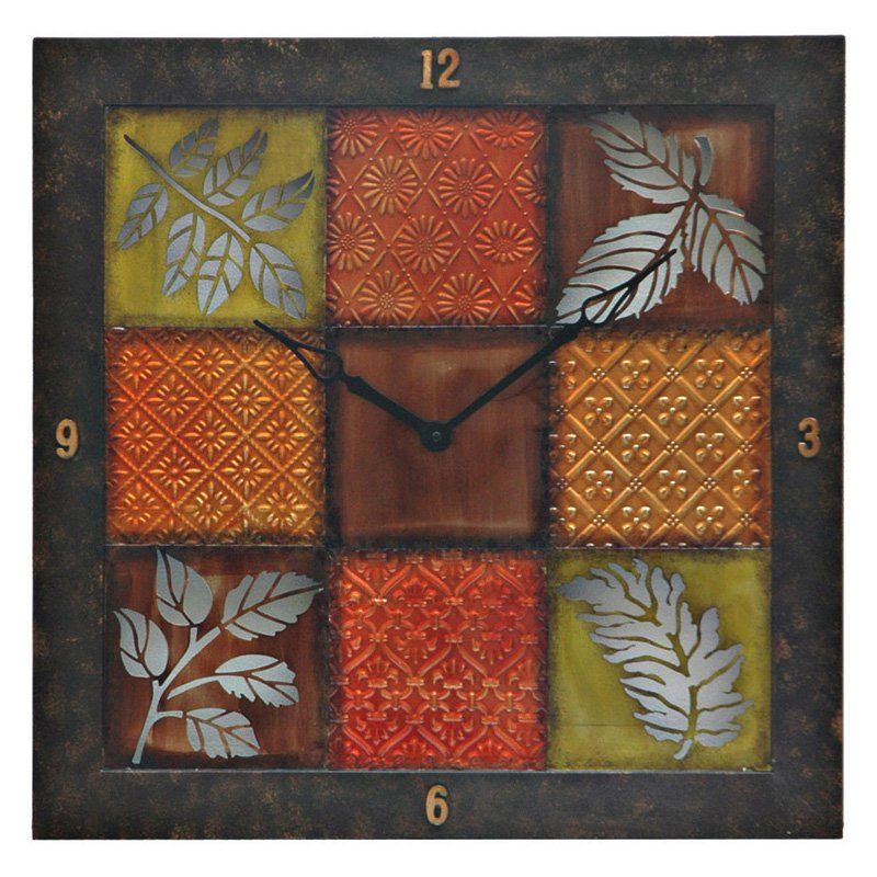 Square framed wall art with clock from hayneedle com