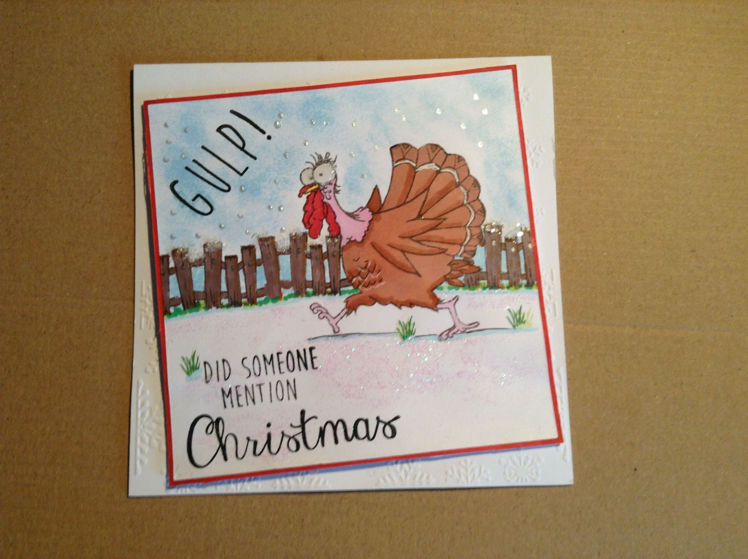 6x6 card made with Hobby Art stamps daryl the quirky turkey