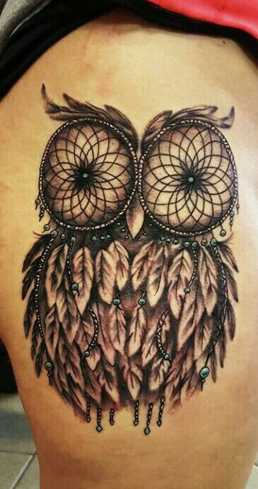 Obsessed With My Owl Dreamcatcher Tattoo Thanks To Leotat2 Baddonkeytattoo Lakeozark Owltattoo Dreamcatchertattoo Blacknwhite Touchofblue Hip Thigh