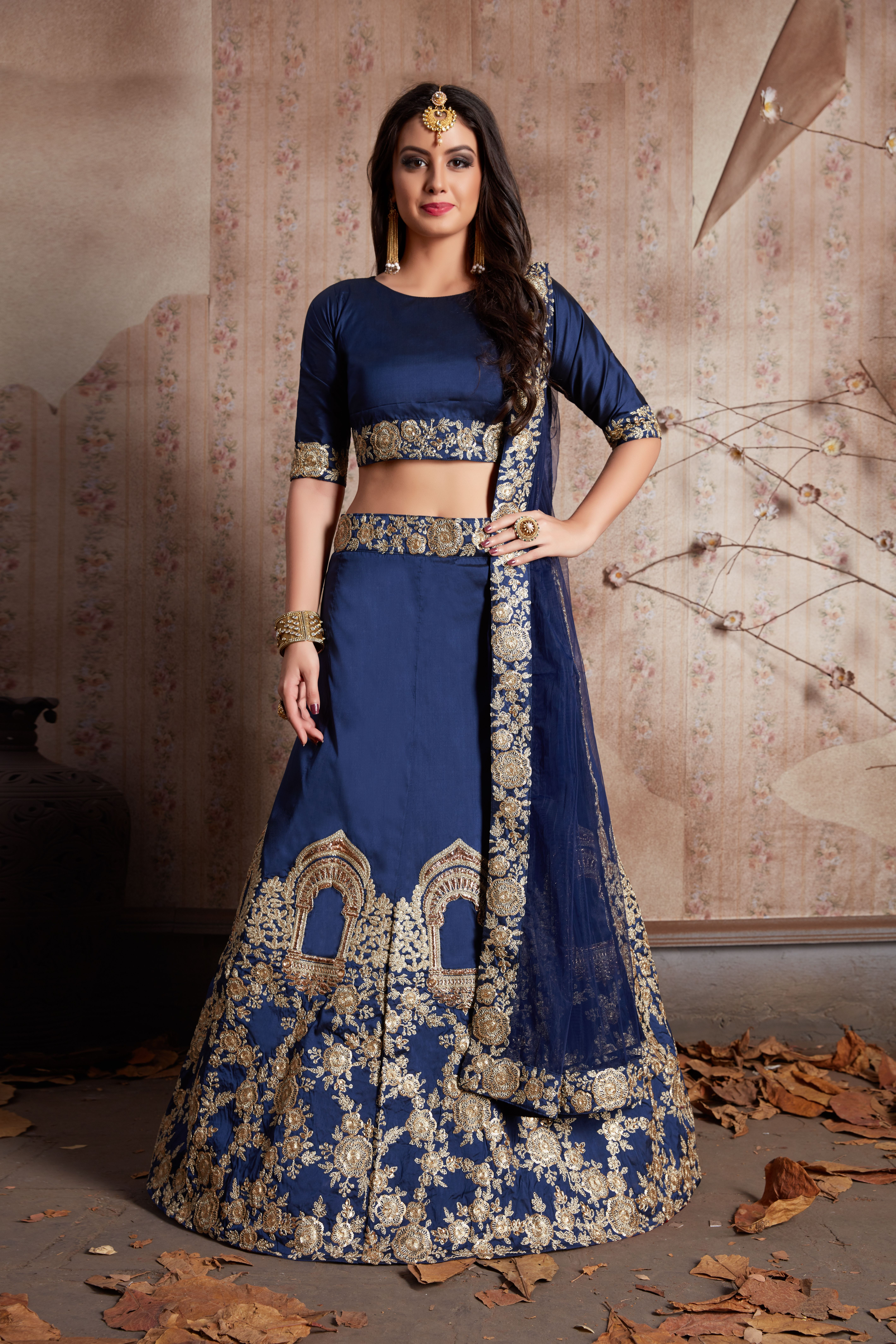 0a96f592f This Set Features A Dark Navy Blue Tafetta Silk Dori Work Lehenga ...
