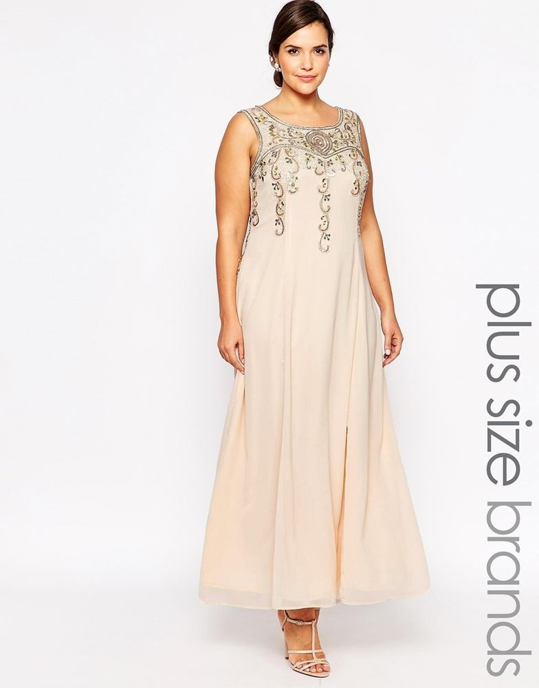 Lovedrobe Plus Size Beaded Maxi Evening Dress in Cream UK 20 ...