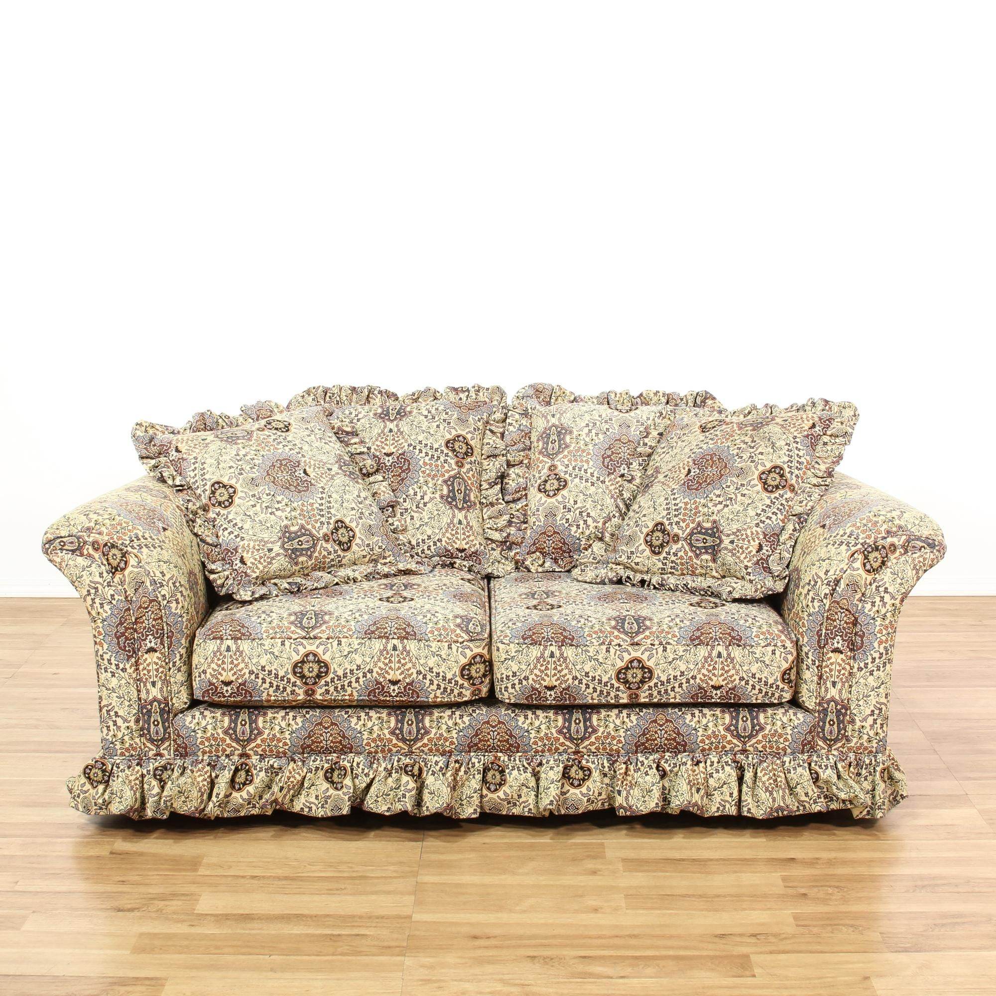 floral living room sets this loveseat sofa is upholstered in a durable beige 15908