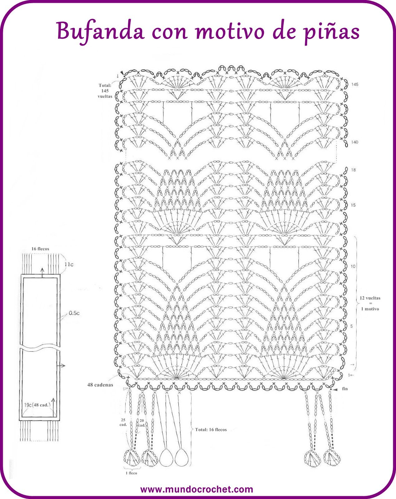 Bufanda a crochet con motivo de piñas - Mundo Crochet | Manualidades ...