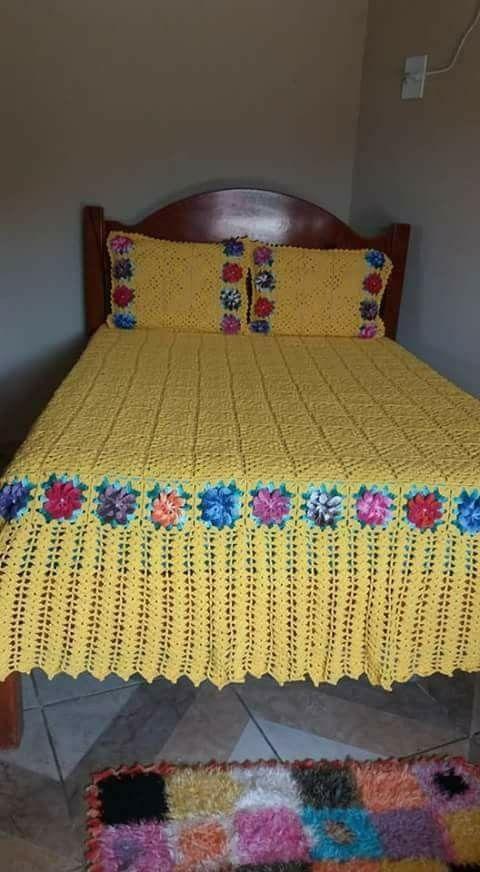 Cubrelecho en crochet | cubrecama | Pinterest | Colchas, Ganchillo y ...