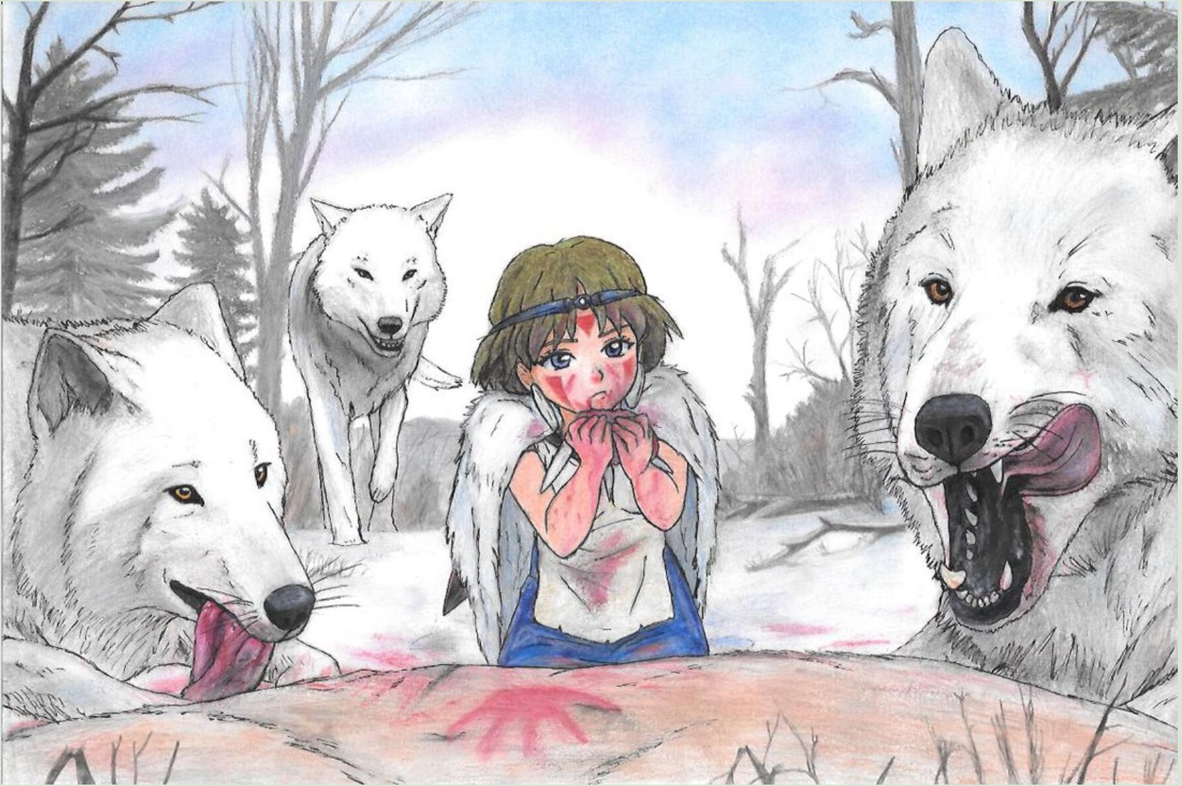 Princess Mononoke- San raised by her wolf family