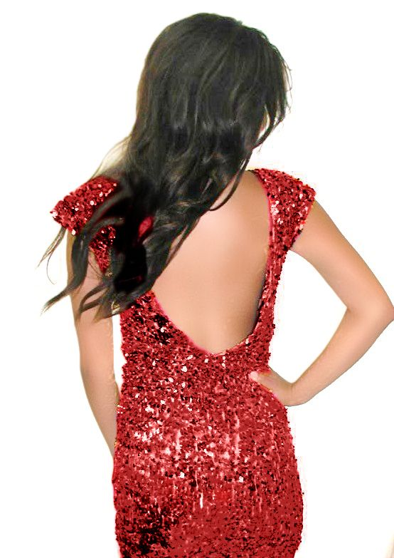 Plus Size Red Sequin Backless Dress Plus Size Red Sequin Dresses