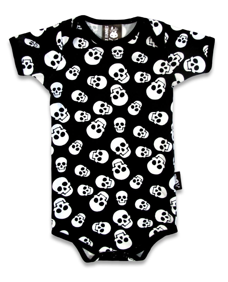 Six Bunnies Whole Lotta Skulls One Piece Romper Baby Black Goth Cool Polka Punk
