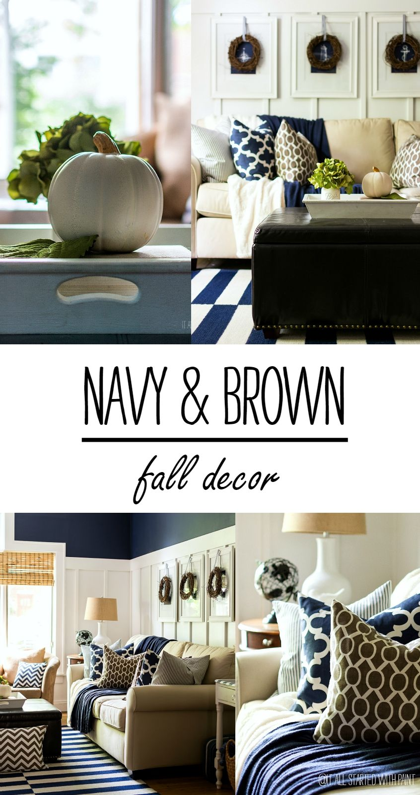 Best Fall Decor In Navy And Blue Brown Blue Living Room 400 x 300