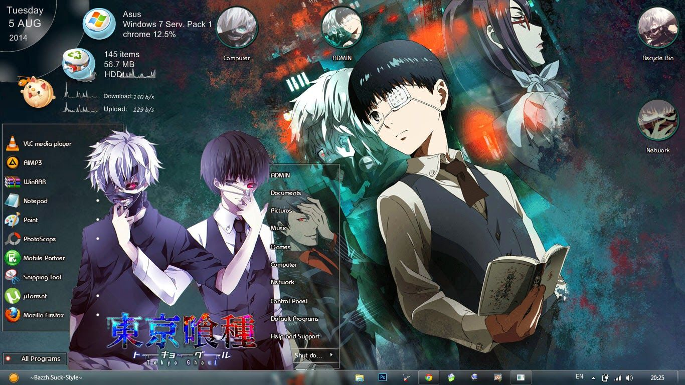 [Theme Win 7] Tokyo Ghoul / 東京喰種トーキョーグール By Bashkara