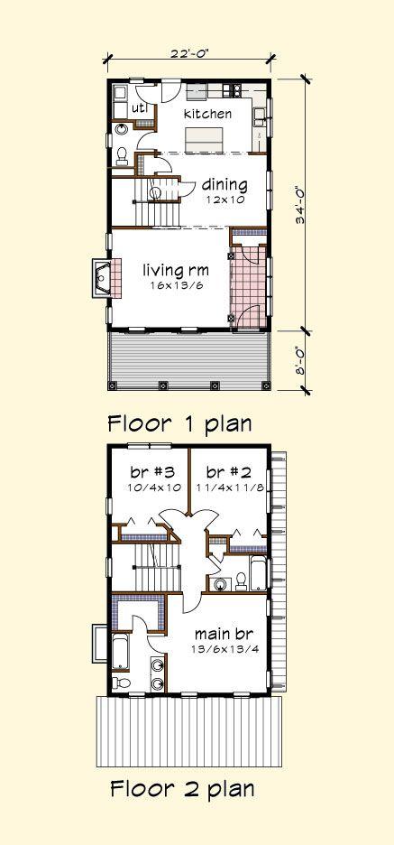 House Plan P1413a Details Thompsonplans Com Narrow House Plans House Plans Floor Plans