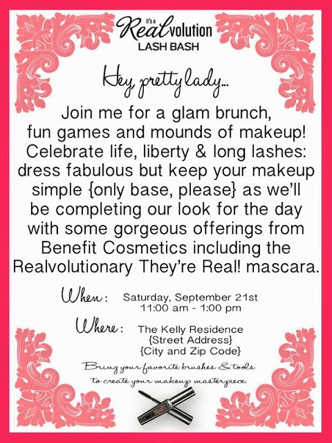 Make Up Party Invite Idea Except Change To Mary Kay Cosmetics