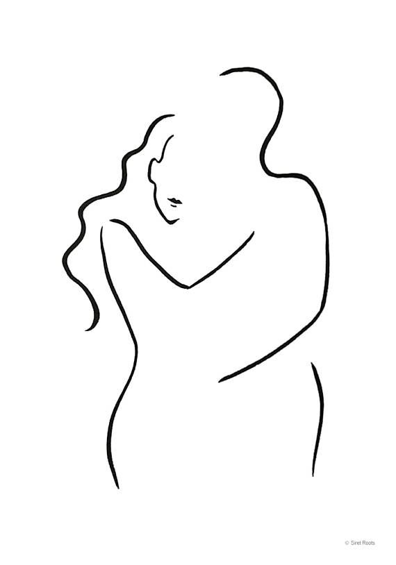 Abstract Minimalist Couple Sketch Simple Line Drawing Embrace