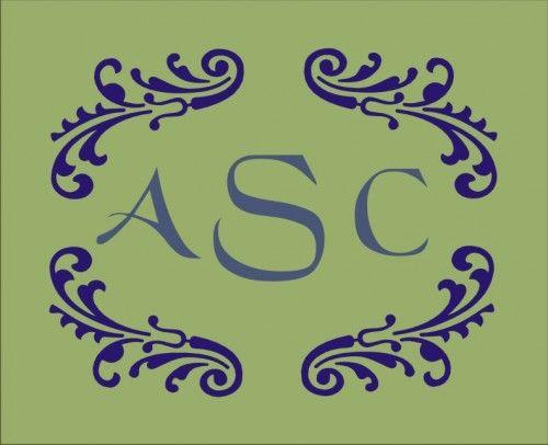 stencil 3 letter frame monogram flourish 9 x 7 inches oklahomastencilcompany handmade supplies on artfire