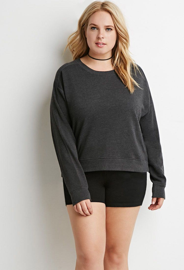 d7044f8426 Plus Size Boxy French Terry Sweatshirt