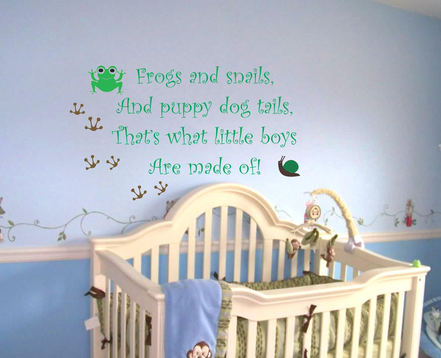 Baby boy room decor stickers - Baby Boy Nursery Saying Frogs And Snails Wall Quote Wall Decal Frog Decals Nursery Wall Decal Boys Sayings Decals Nursery Wall Art Decals