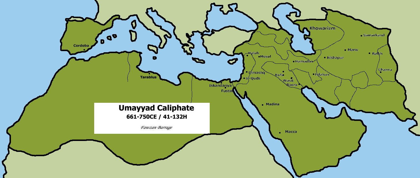 Map Of Spain Under Moorish Rule.Umayyad A Member Of A Muslim Dynasty That Ruled The Islamic World