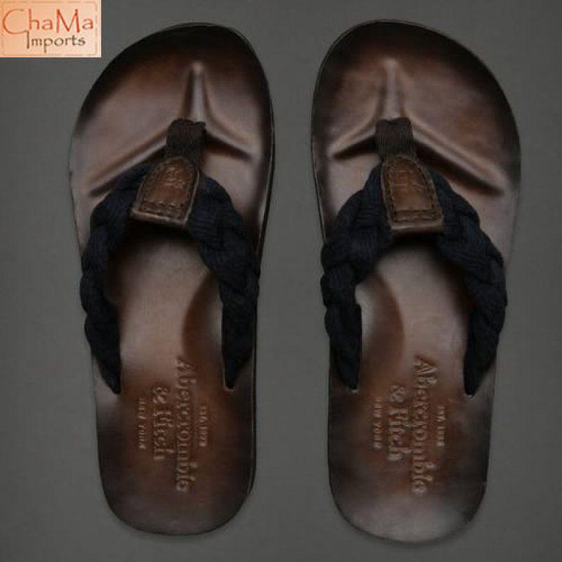 c132190ca12355 Typo Logo · Shoes Sandals · Chinelo de couro genuíno com sola moldada para  maior conforto. Possui alça trançada de algodão